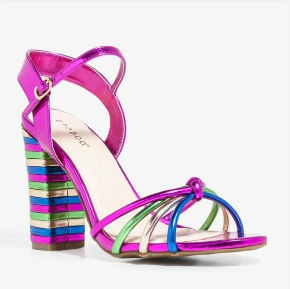 5a5d359b074 BAMBOO Shoes - Bamboo Metallic Rainbow Block Heels Sandals 8